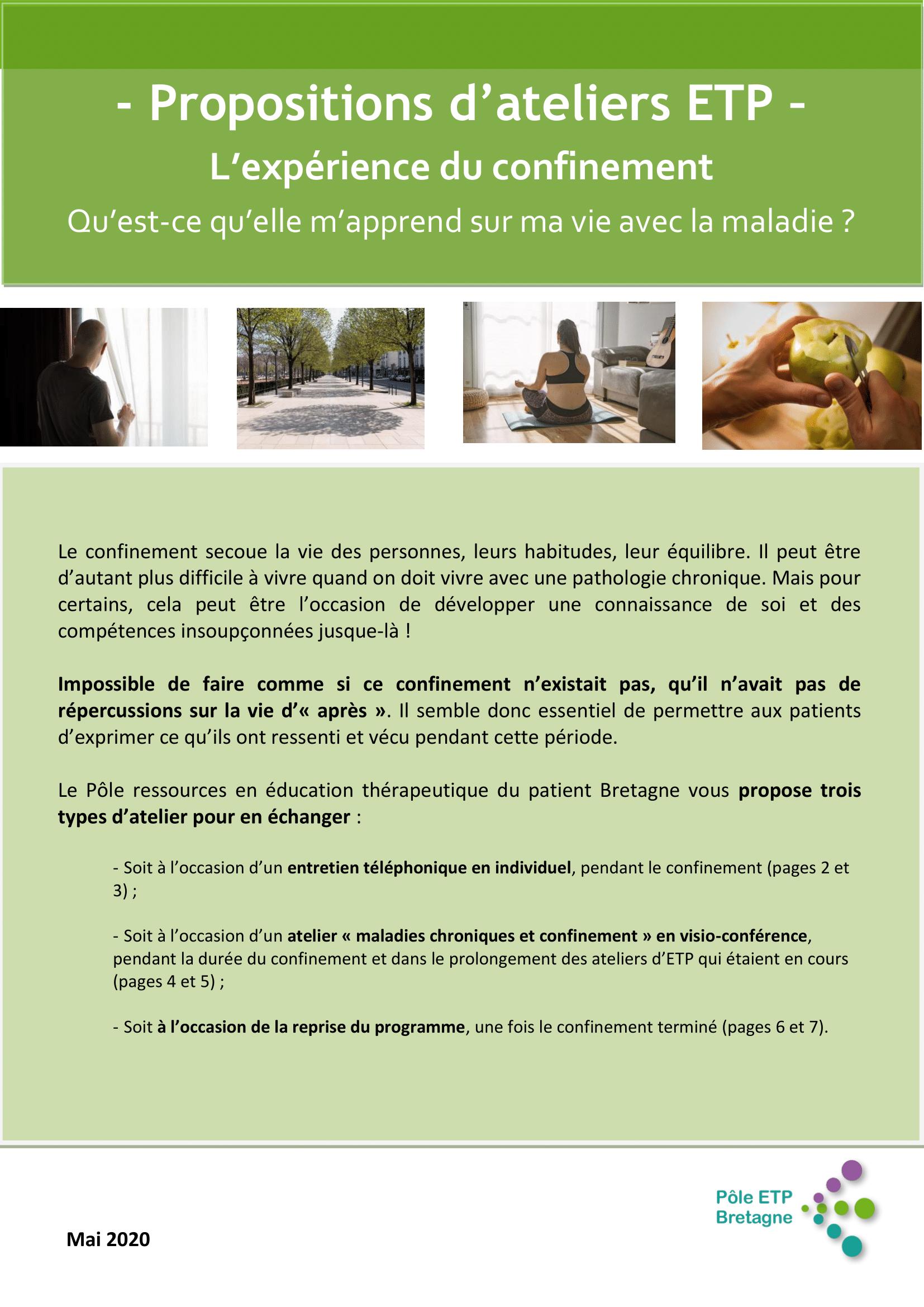 Propositions d'ateliers ETP : L'expérience du confinement, qu'est ce qu'elle m'apprend sur ma vie avec la maladie ?